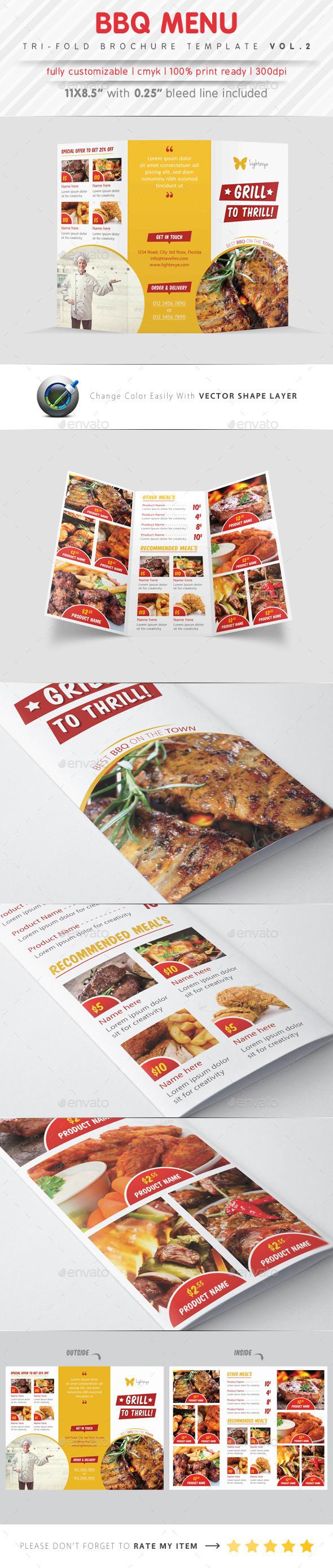 BBQ Menu Tri Fold Template - Food Menus Print Templates