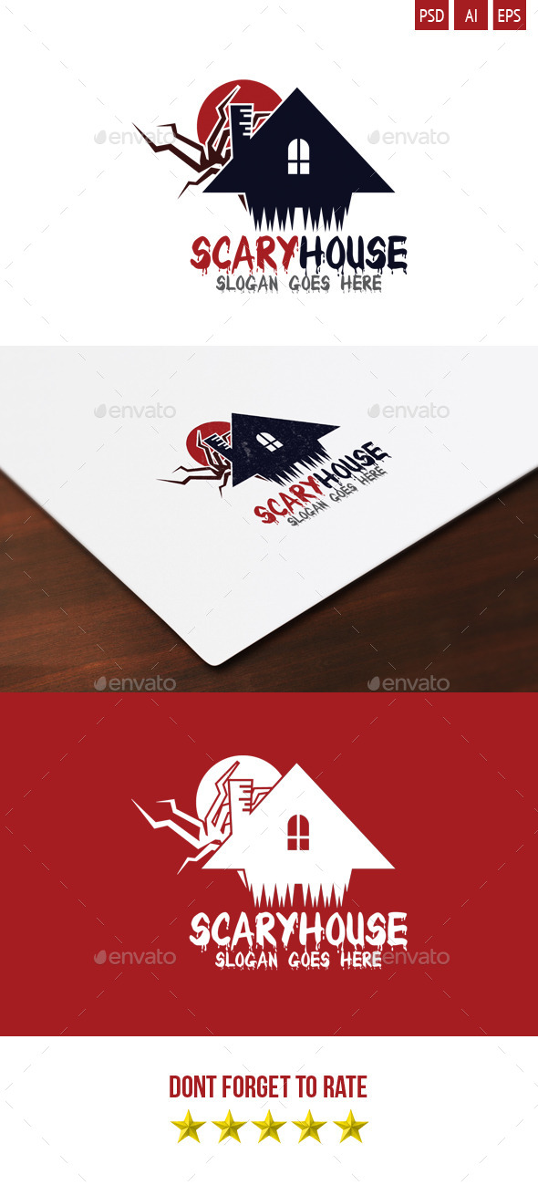 Scary House Logo - Buildings Logo Templates