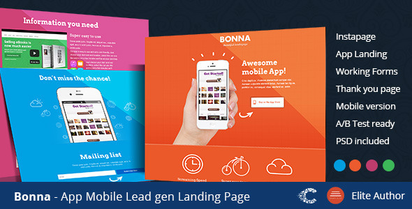 Bonna - Mobile App Landing Template - Instapage Marketing