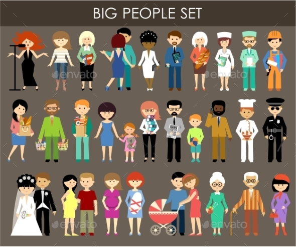Set of People of Different Professions and Ages - People Characters