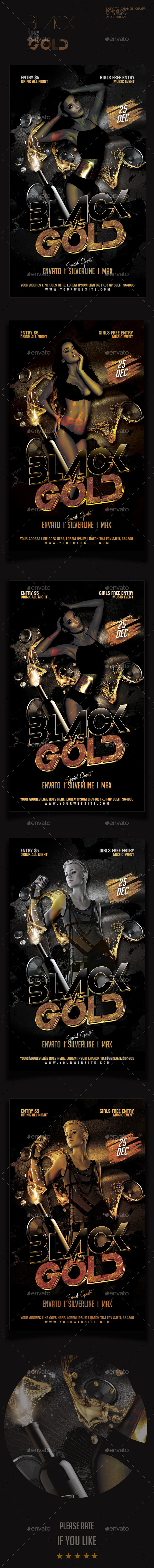 Black vs Gold Party Flyer Template - Clubs & Parties Events