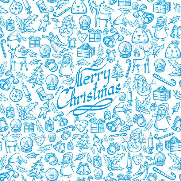 Seamless Christmas and New Year Card - Christmas Seasons/Holidays