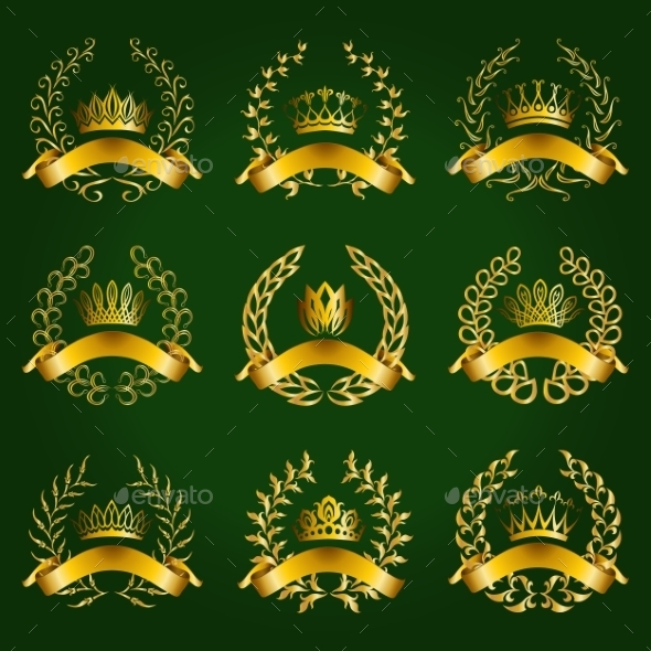 Luxury Gold Labels with Laurel Wreath - Decorative Symbols Decorative