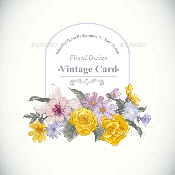 Vintage Floral Bouquet Botanical Greeting Card - Flowers & Plants Nature