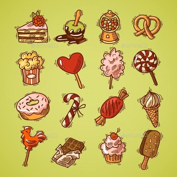 Sweets Sketch Icon Set Color - Web Elements Vectors