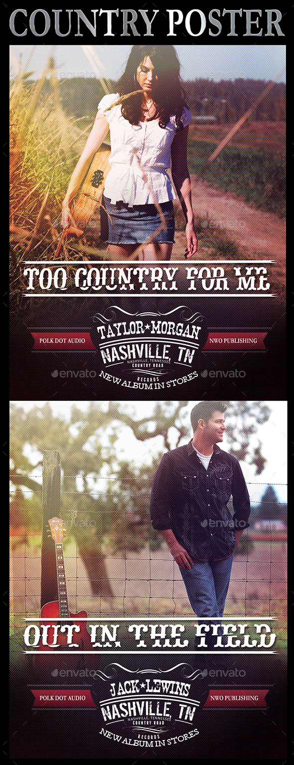 "8.5""x11"" Country Music Poster - Concerts Events"