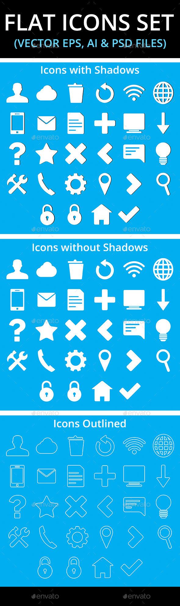 Flat Icons Set - Web Technology