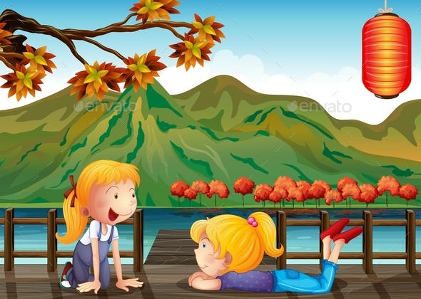 Two Girls Talking at the Wooden Bridge - People Characters