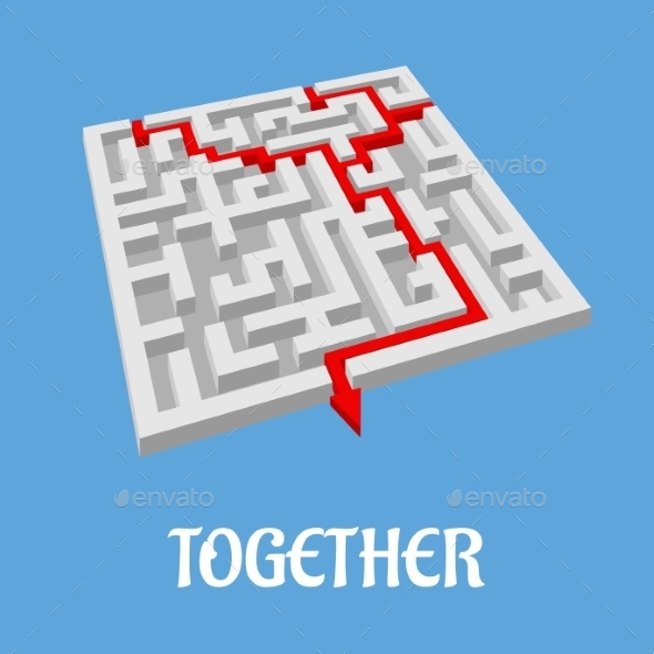 Labyrinth Puzzle Showing Two Alternative Routes - Concepts Business