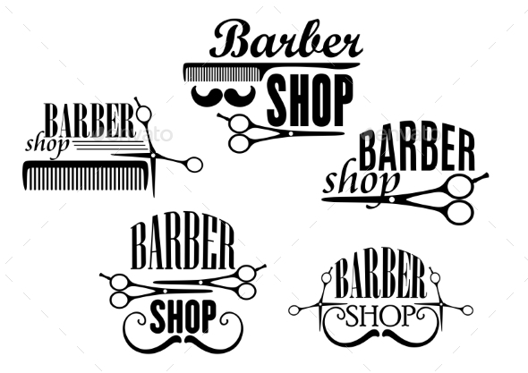 Barber Shop Badges or Signs Set - Services Commercial / Shopping
