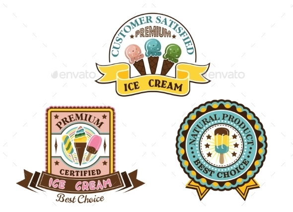 Ice Cream Badges and Labels - Food Objects