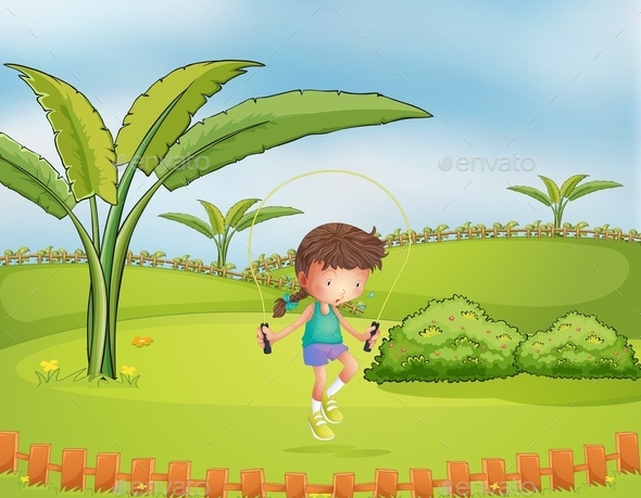 Girl Jumping Rope in the Park - People Characters