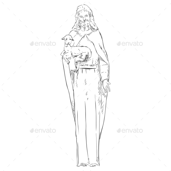 Jesus with a Lamb - Religion Conceptual