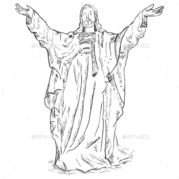 Jesus Christ with Hands Raised - Religion Conceptual