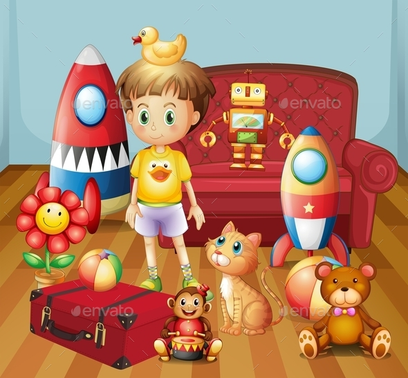 Child Inside the House with His Toys - People Characters