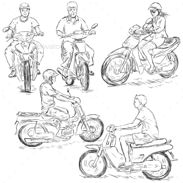Set of Sketch Riders on Motorbikes - People Characters