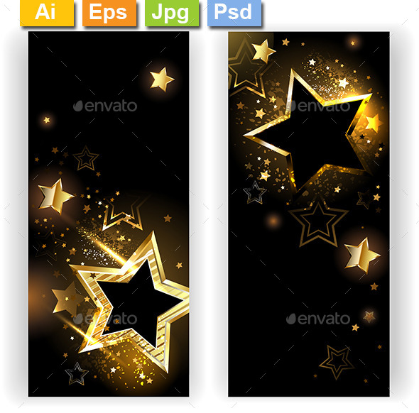 Two Banners with Golden Stars - Web Elements Vectors