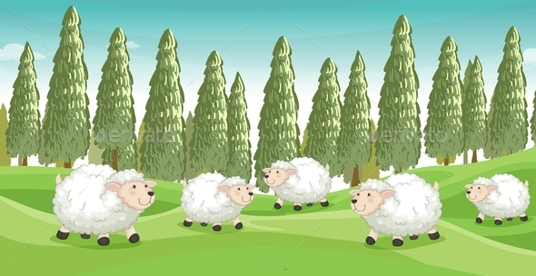 Smiling Sheep - Animals Characters