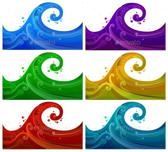 Six Colorful Waves - Landscapes Nature