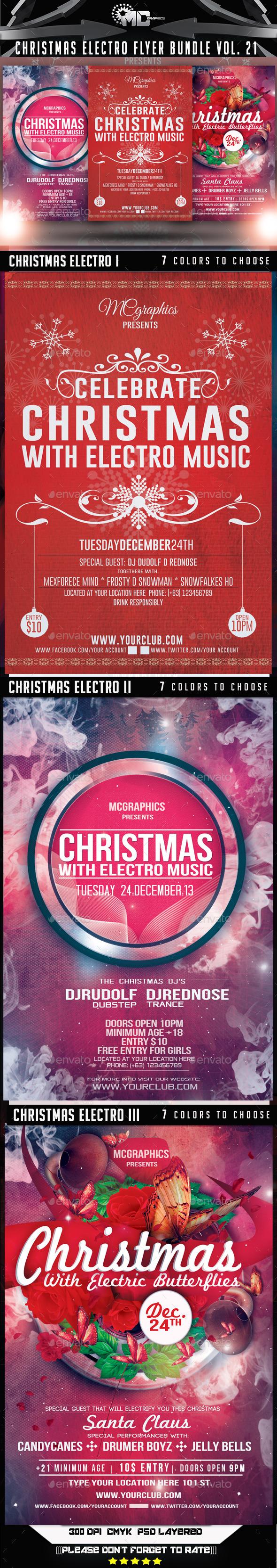 Christmas Electro Flyer Bundle Vol. 1 - Events Flyers