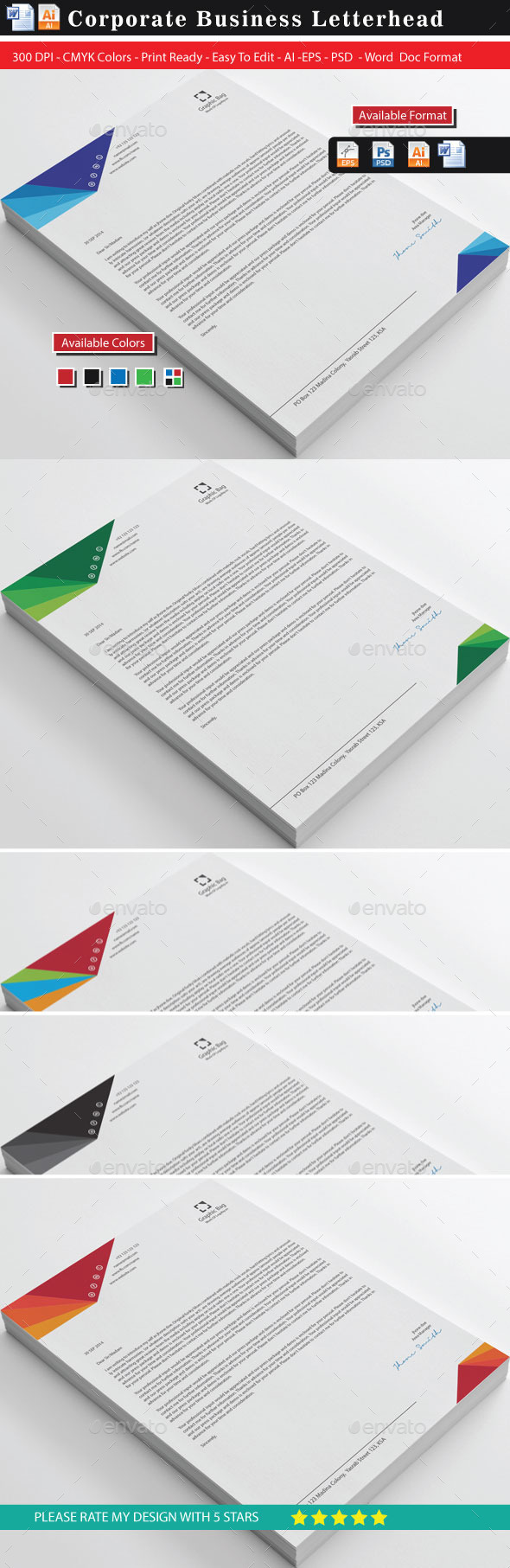 Modern 20 Business Letterhead - Stationery Print Templates