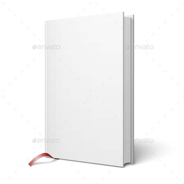 Blank Vertical Book with Bookmark Template - Man-made Objects Objects