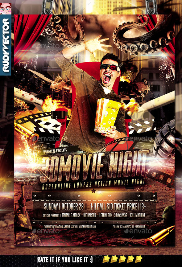 3D Action Movie Night Flyer Design - Miscellaneous Events