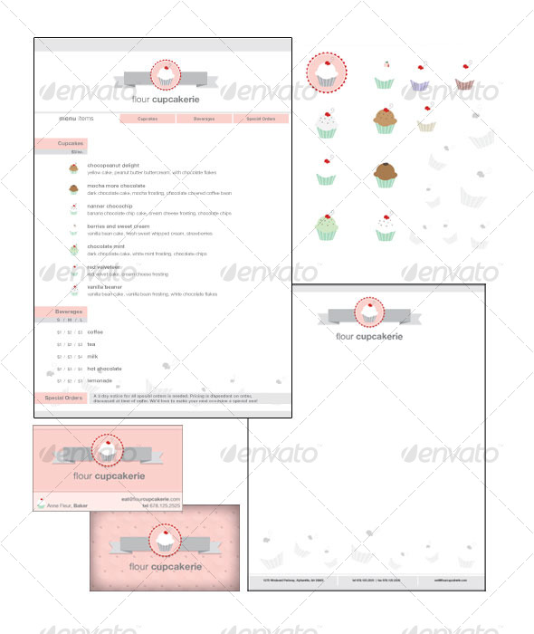 Cupcake Shop Collateral - Stationery Print Templates
