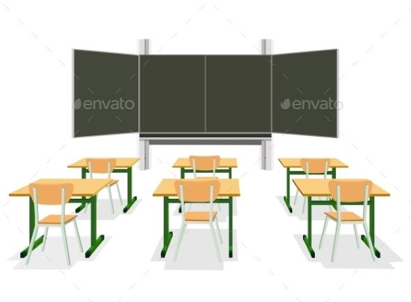 Vector Illustration of an Empty Classroom - Miscellaneous Conceptual