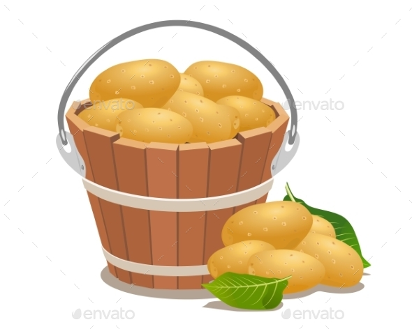 Wood Bucket Full New Potatoes - Backgrounds Decorative