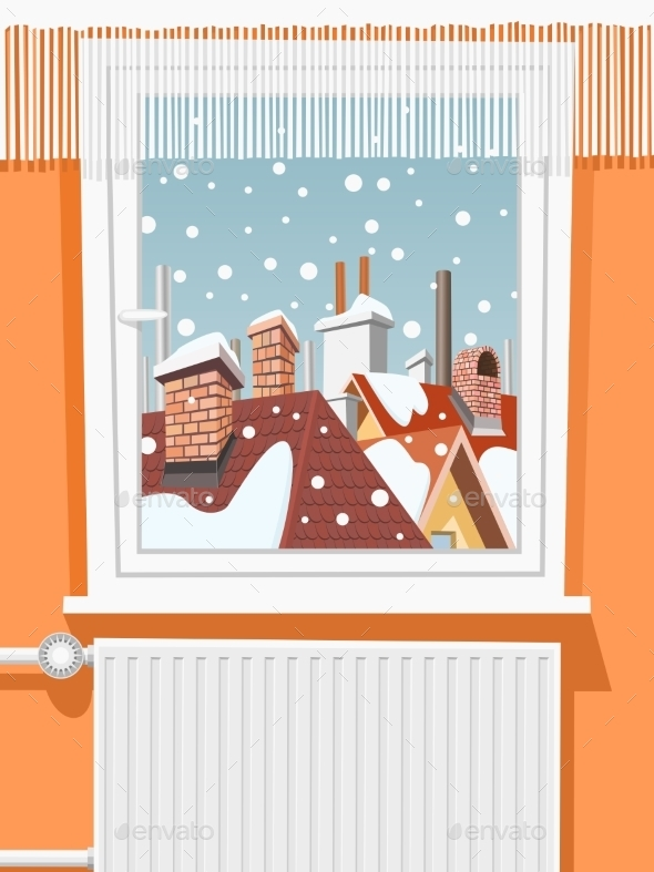 Winter Scene Through Window, Illustration - Buildings Objects