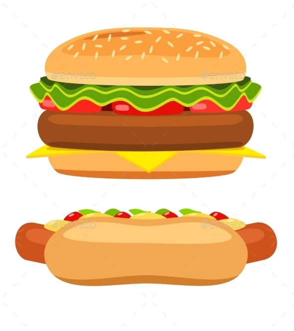Hotdog and Burger on White Background Vector - Food Objects