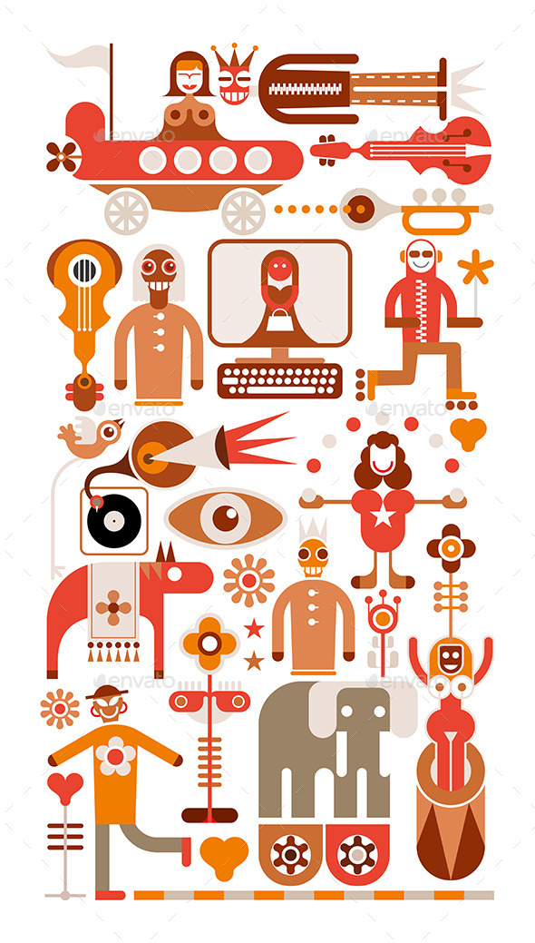 Circus Show - Vector Illustration - People Characters