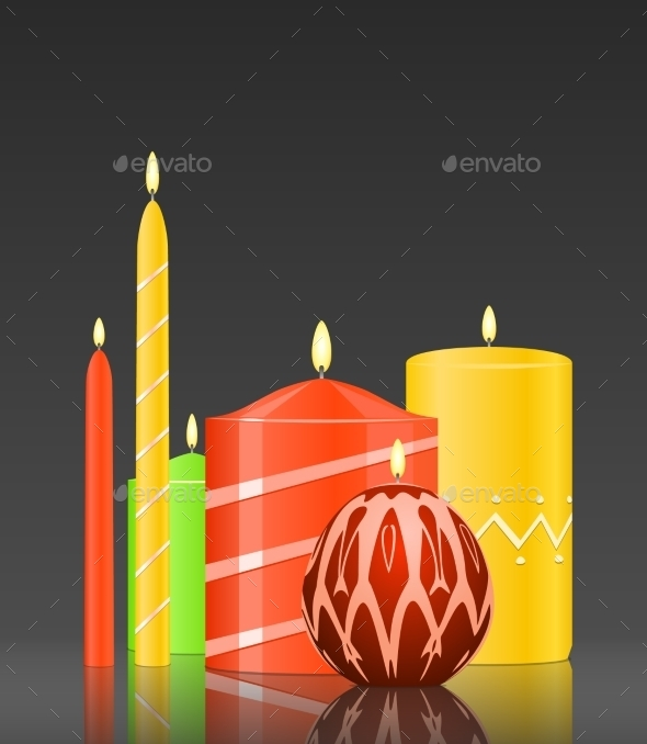 Burning Candles on Glossy Dark Background - Religion Conceptual