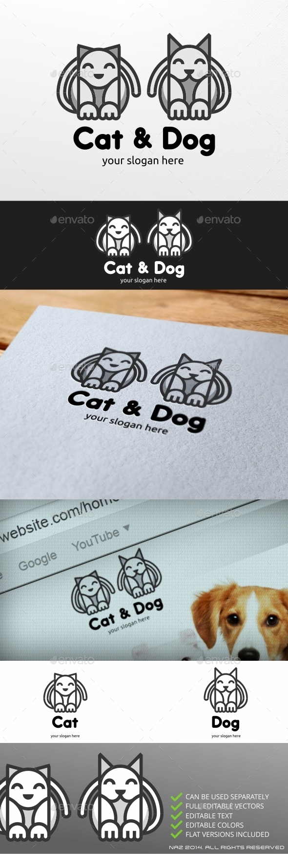 Cat and Dog Logo - Animals Logo Templates