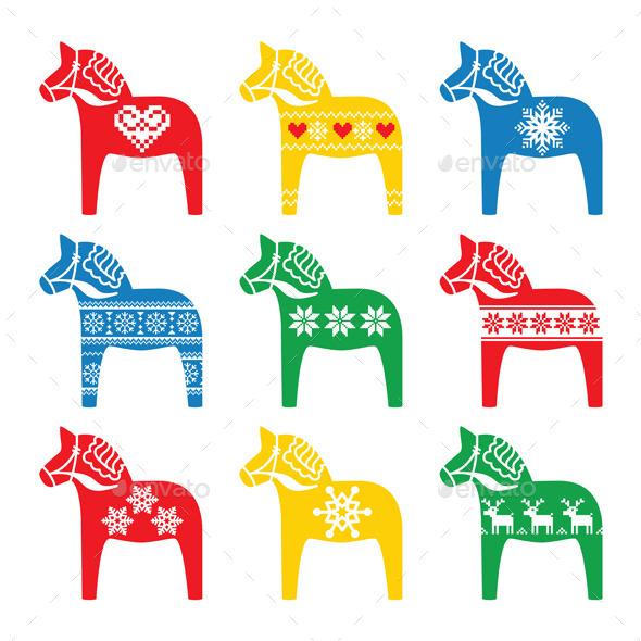 Swedish Dala, Dalecarlian Horse with Winter Style - Christmas Seasons/Holidays