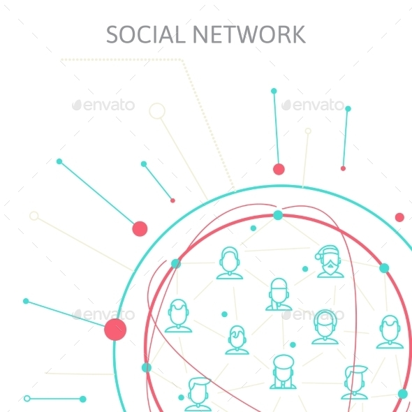 Social Media Circles, Network Illustration, Vector - Web Technology