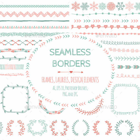 Doodle Seamless Borders and Design Elements - Decorative Vectors