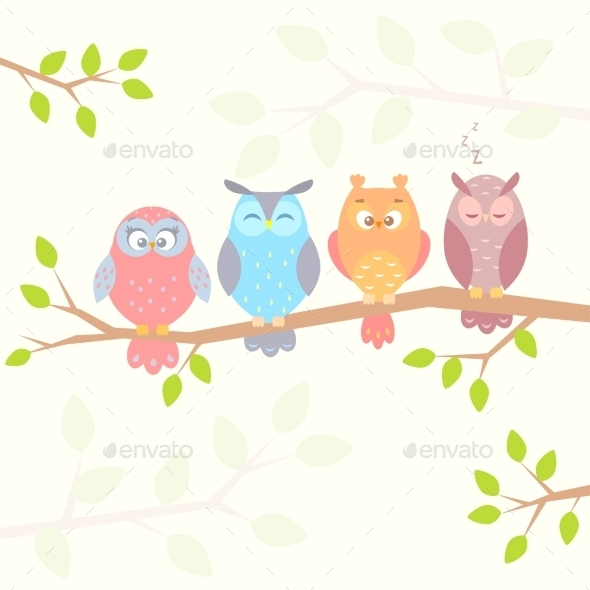 Owls on Branch - Animals Characters