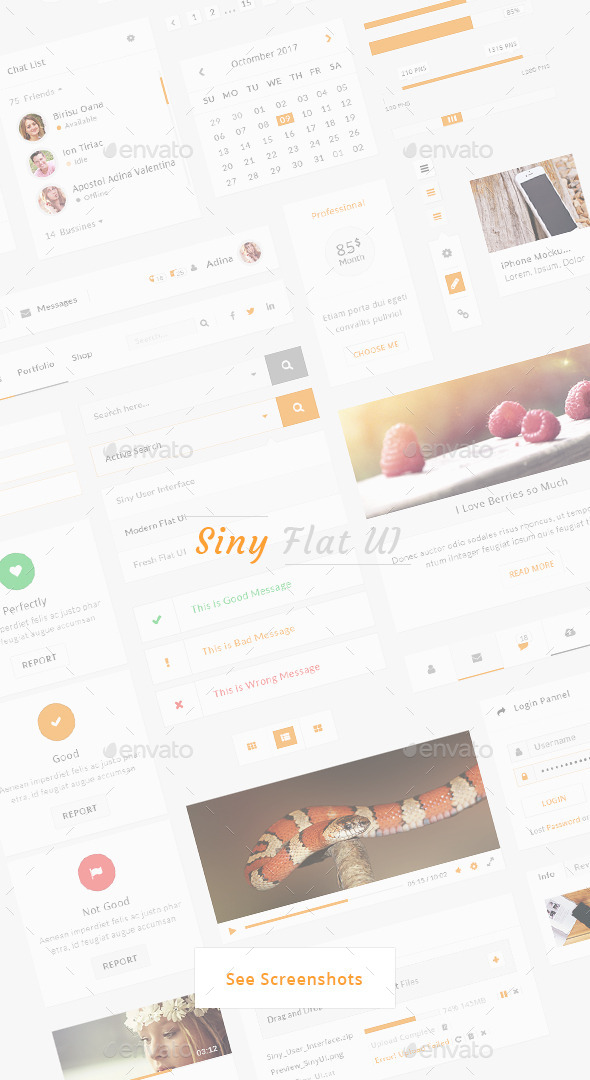 Siny - Creative Flat User Interface - User Interfaces Web Elements