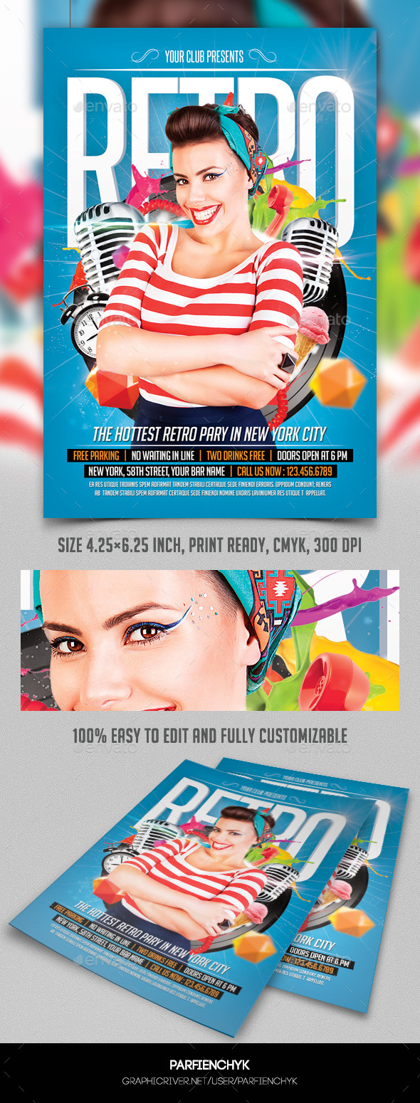 Retro Party Flyer Template - Clubs & Parties Events