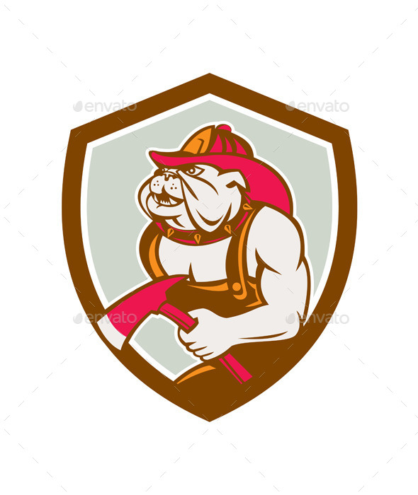 Bulldog Fireman With Axe Shield Retro - Animals Characters
