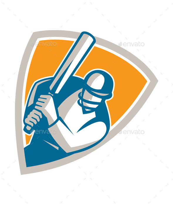 Cricket Player Batsman Batting Shield Retro - Sports/Activity Conceptual