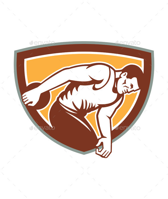 Discus Thrower Shield Retro - Sports/Activity Conceptual