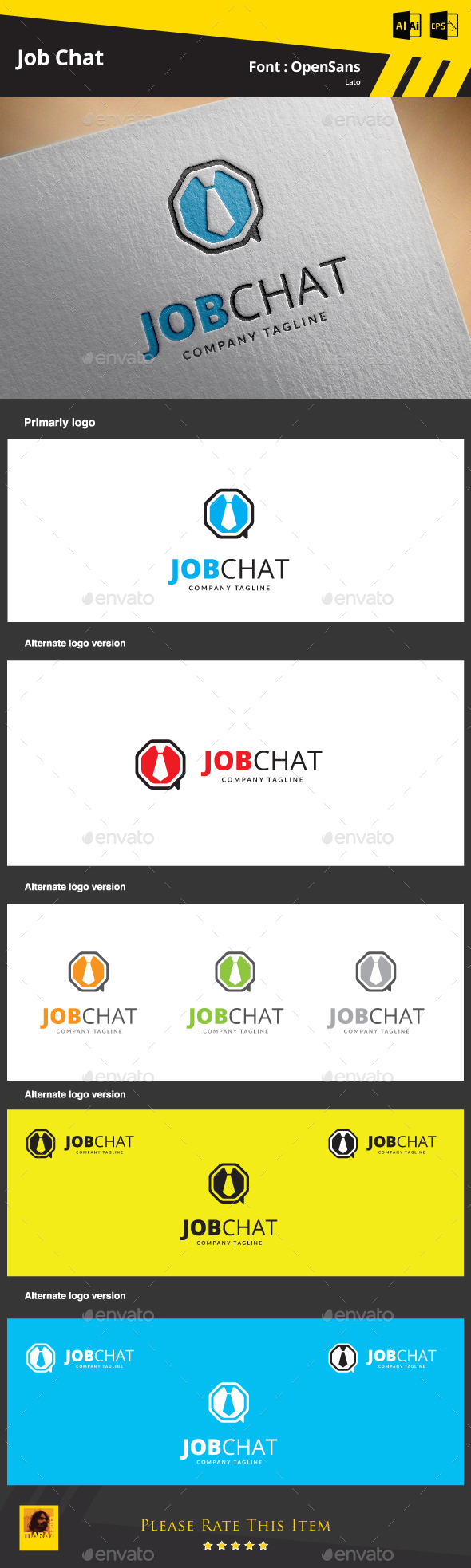 Job Chat Logo Template - Symbols Logo Templates