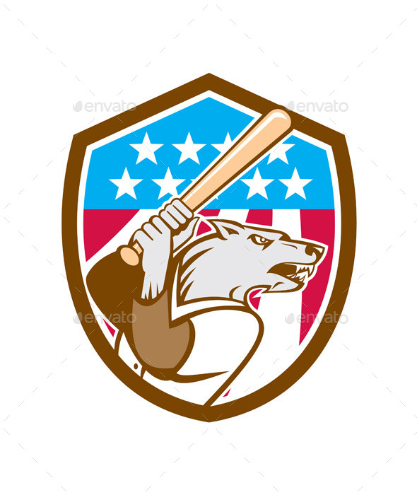 Wolf Baseball with Bat USA Stars Shield - Sports/Activity Conceptual