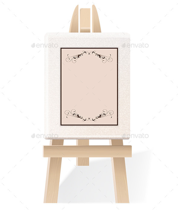 Blank Paper on a Decorative Wooden Easel - Man-made Objects Objects