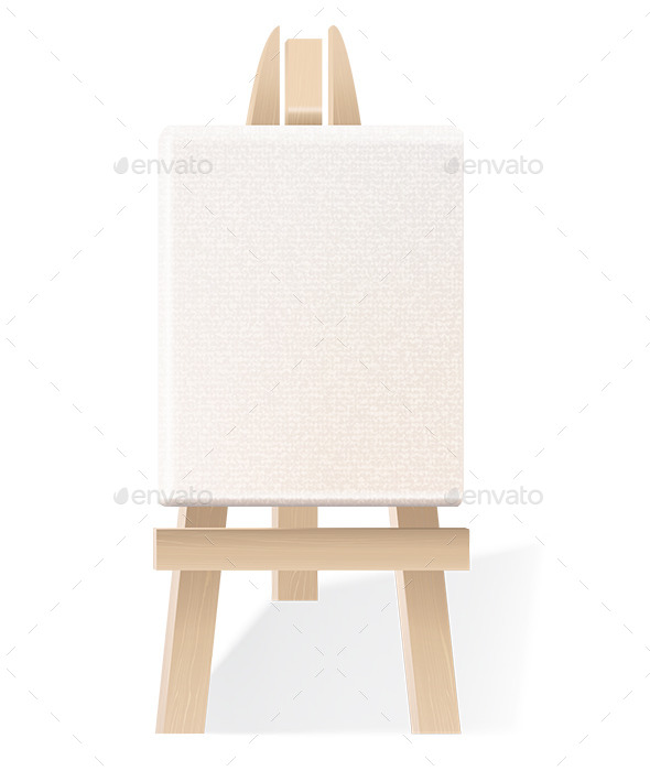 Blank Canvas on Wooden Easel - Man-made Objects Objects