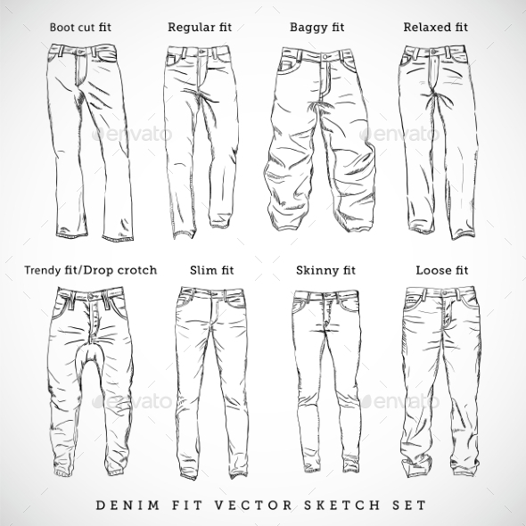 denim fit hand drawn vector sketch set by createvil graphicriver. Black Bedroom Furniture Sets. Home Design Ideas