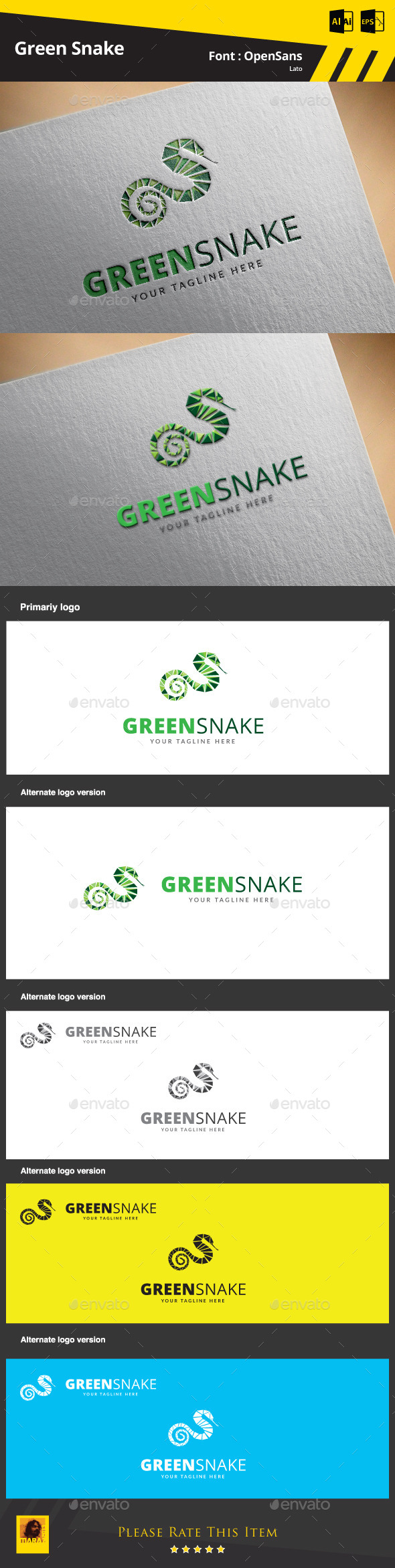 Green Snake Logo Template - Animals Logo Templates